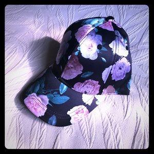 NWT BLACK FLORAL HAT